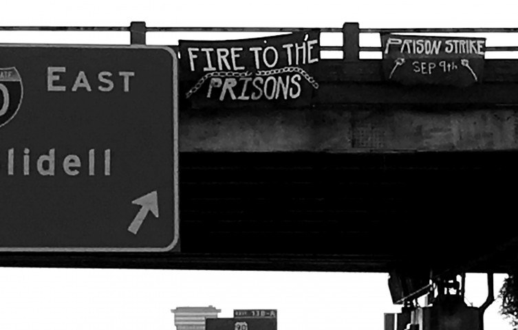 Fire to the Prisons banner drop