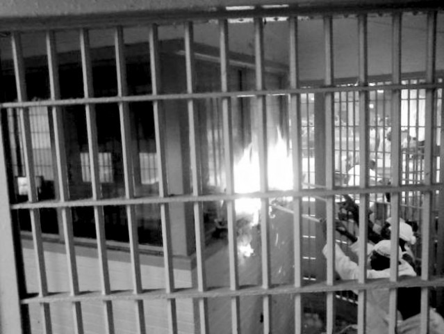Holman prisoners setting fire to a cell block.