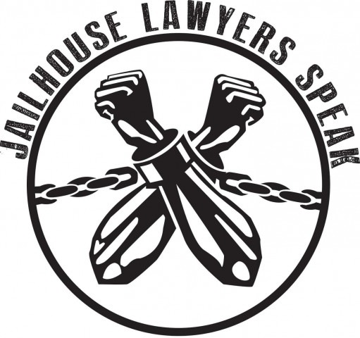 Jailhouse Lawyers Speak logo - black arms crossed breaking chains in a circle, name around the circle