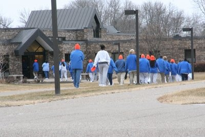 Picture of women on a prison yard: Prisoners wore blue - the only color they can wear without getting in trouble