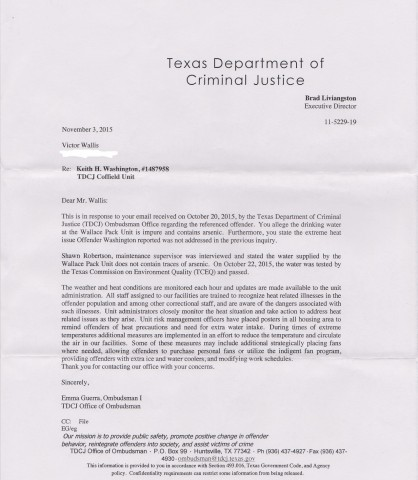 TDCJ officials deny the poisoned water