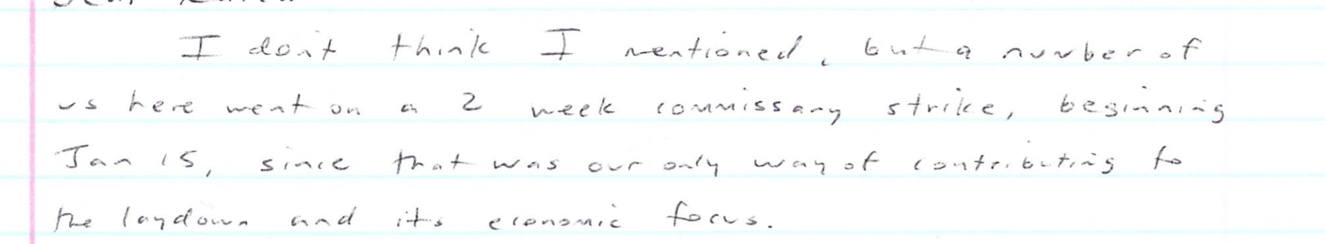 Letter from prisoner about commissary strike.