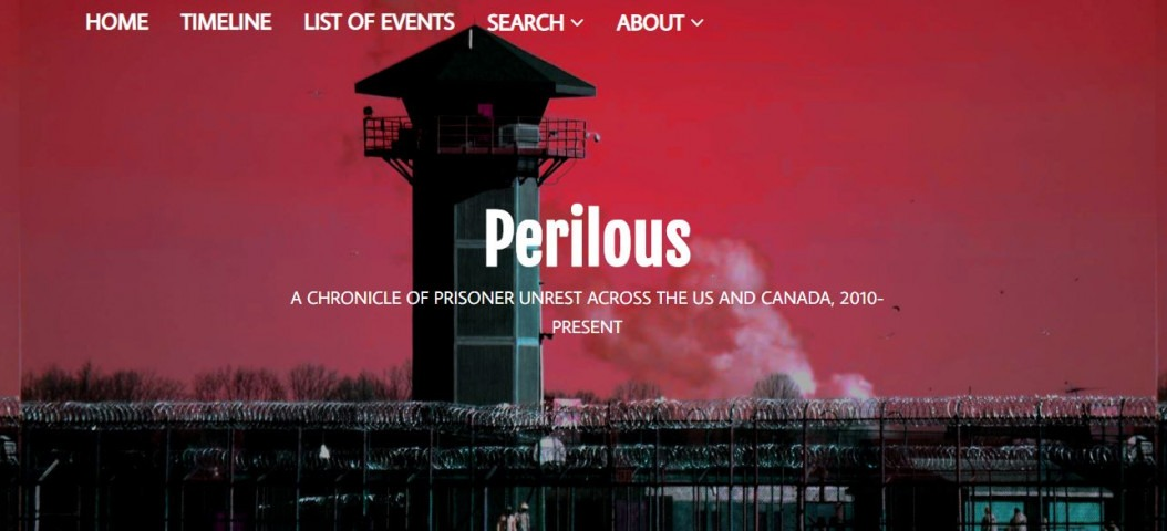 Stark image of prison over red background. Website homepage image of Perilous,