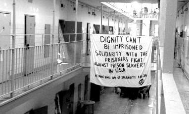 Banner drop in prison.