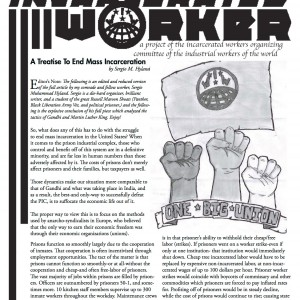 "Cover of the Incarcerated Worker, drawing by Riley Keller of three fists with an Industrial Workers of the World banner in the background, below the fists reads ""One Big Union."""