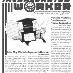 "Cover of the Incarcerated Worker, a drawing by Kevin ""Rashid"" Johnson of an outline of the United States with  prison inside, with a graduation cap replacing the roof of the prison, with the words ""Turn the iron houses of oppression into schools of liberation."""
