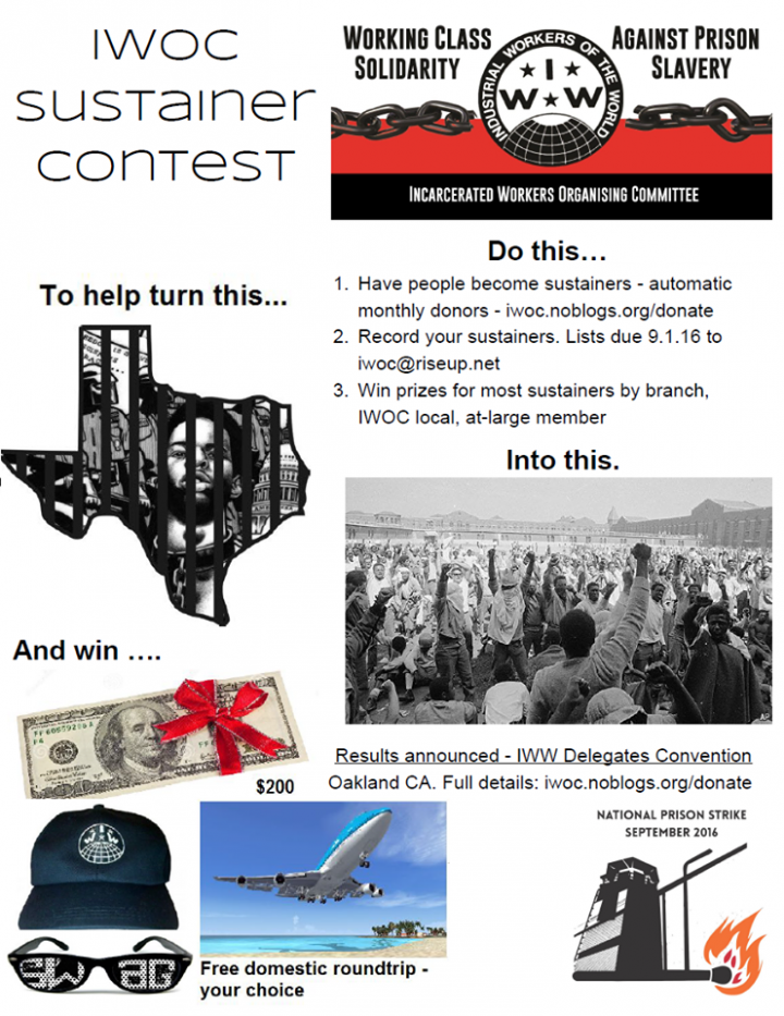 IWOC Sustainer Contest! Win Cash and Prizes!! | Incarcerated