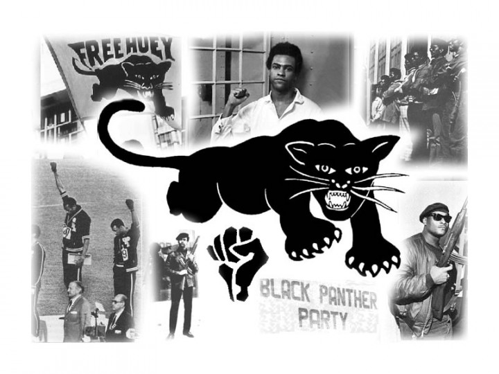 A photo collage of Black Panther Party members with the Black Panther logo in the center.