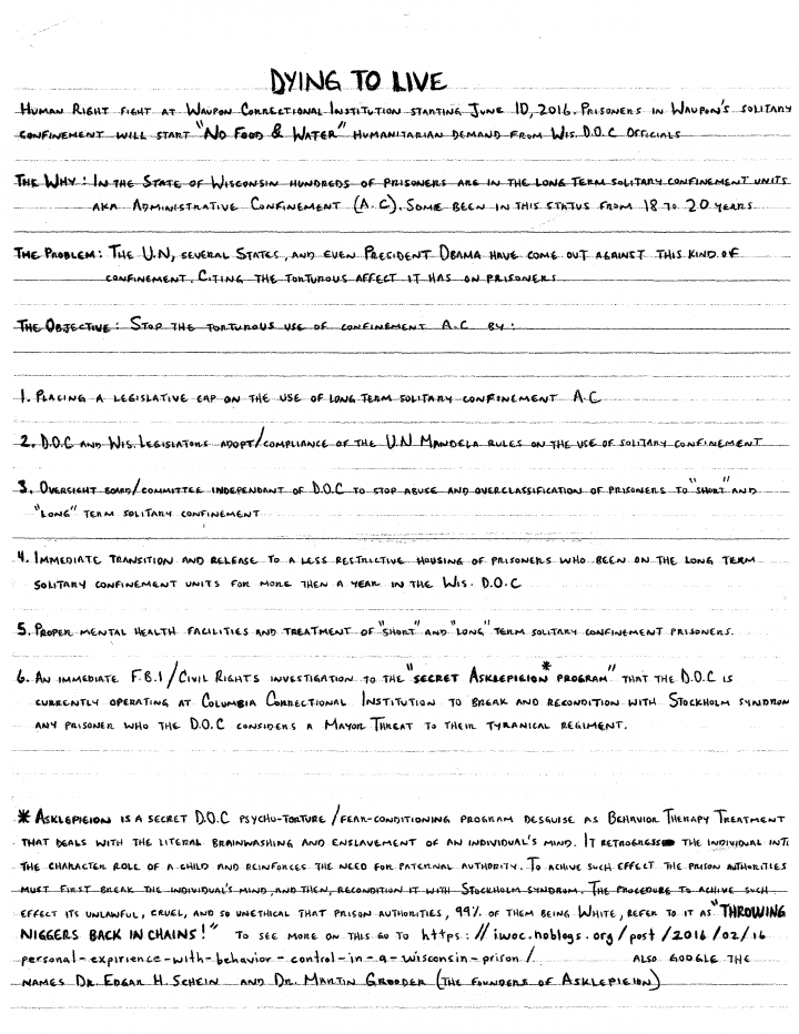Demands written by prisoners involved with the Dying to Live campaign