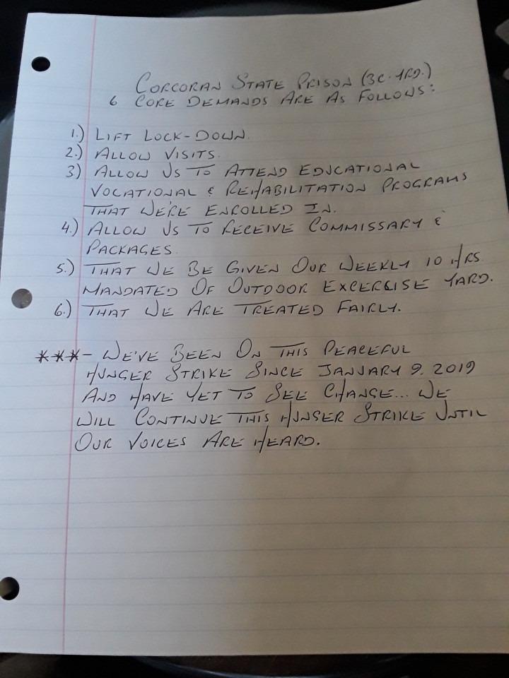 handwritten note of the 6 demands of Corcoran hunger strikers
