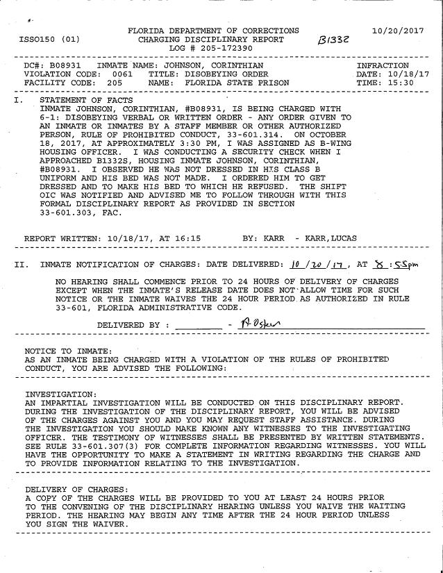 Corinthian Johnson's disciplinary report