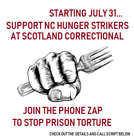 July 31 - Hunger Strike Begins in North Carolina, fist holding phone