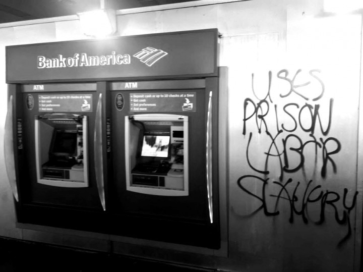 Vandalized ATM machine in solidarity with striking prisoners.