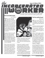 """Cover of the Incarcerated Worker, drawing by Kevin """"Rashid"""" Johnson of Assata Shakur, Che Guevara, Malcolm X and George Jackson"""