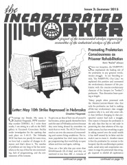 """Cover of the Incarcerated Worker, a drawing by Kevin """"Rashid"""" Johnson of an outline of the United States with  prison inside, with a graduation cap replacing the roof of the prison, with the words """"Turn the iron houses of oppression into schools of liberation."""""""