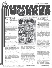 Cover of the Incarcerated Worker, drawing by Anthony of Uncle Sam sitting in an alley, controlled by a floating skull.